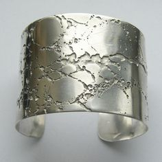STERLING SILVER CUFF BANGLE - ETCHED CREVICE ERODE COLLECTION. This .925 silver cuff bracelet was inspired by textures
