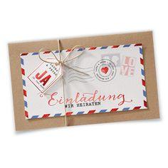 Hochzeitseinladungen Vintage, Luftpost – vergrößerte Abbildung