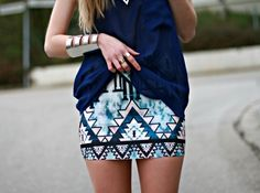 love the pattern on the skirt - pencil skirt