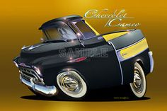 YouTube Cartoons Cars and Trucks | 1957 Chevrolet Cameo Pickup Truck Automotive Cartoon Car Art Print