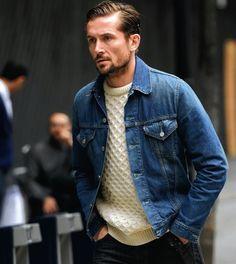 デニムジャケット,セーター,メンズ,着こなし
