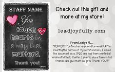 "Teacher/Staff Appreciation is Coming Soon! Need a gift for a small or LARGE group? This editable download is ""perfect""."