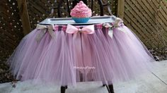 High Chair Tutu Skirt  Pink and Silver by MonkeyPantsPartyHats