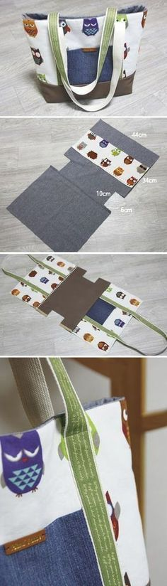 Easy Canvas Tote Bag with Pocket. Step by step DIY Tutorial. http://www.handmadiya.com/2015/11/diy-canvas-tote-bag.html #diybag