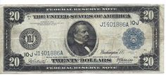 1914 US $20 Federal Reserve Note KANSAS CITY Circulated Note FR #1000