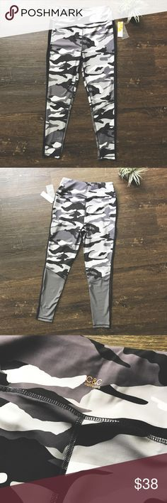 C&C California performance leggings athletic L C&C California performance leggings have perfect stretch for comfort, wicking material that keeps your dry, along with quick drying technology. Very stylish gray, black and white camouflage print, with gray block accents on the back. NEW WITH TAGS! C&C California Pants Leggings