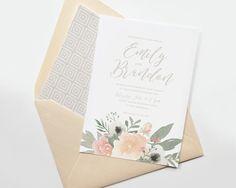 Blush floral wedding invitation, romantic wedding invitation, watercolor floral, pink wedding, blush and gray wedding, peach and gray by Devon Design Co