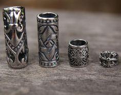 Mix of 4 Stainless Steel 8mm / 9mm 3/8' Hole Tube Dreadlock Beads viking beard
