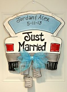 Wedding Just Married Burlap Door Hanger by MustLoveArtStudio, $45.00  Or truck with fishing pole hanging out