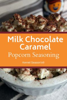 Chocolate lovers, rejoice! A quick sprinkle of Milk Chocolate Caramel seasoning turns popcorn into a chocolaty indulgence thanks to a combination of real cocoa, cane sugar and butter. Kettle Corn Popcorn, Kernel Season's, Popcorn Seasoning, Chocolate Caramels, Sweet And Salty, Chocolate Lovers, Cocoa, Milk, Butter