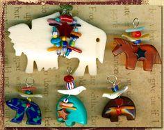 Southwest Fetish Charm Pendants 7 Horn Buffalo Azurite Rhodonite Zuni Bears Turq