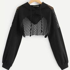 Black Hoodies for Women Hollow Out Crop Tops Mesh Long Sleeve Crop Top Hoodie, Cropped Hoodie, Black Hoodie, Gothic Outfits, Edgy Outfits, Girl Outfits, Cute Outfits, Egirl Fashion, Kpop Fashion Outfits