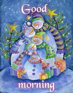 Happy Snowman Family by Pat Olson - Happy Snowman Family Painting - Happy Snowman Family Fine Art Prints and Posters for Sale Christmas Wishes, Christmas Snowman, Winter Christmas, Christmas Holidays, Christmas Crafts, Christmas Quotes, Merry Christmas, Good Morning Christmas, Cute Good Morning
