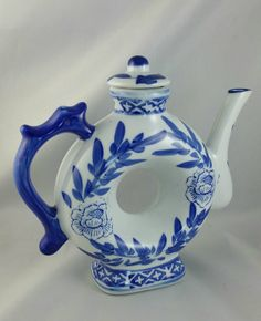 Vintage Porcelain Chinese Blue And White Donut Hole Teapot, Donut Shaped Teapot, by EmptyNestVintage on Etsy