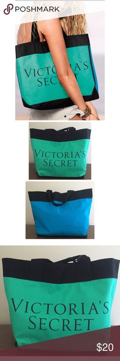 VICTORIAS secret green & blue color block tote New with tags super cute each or shipping tote! Perfect summer colors. Victoria's Secret Bags Totes