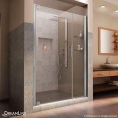 Dreamline Elegance 42.5-In To 44.5-In Frameless Brushed Nickel Pivot Shower Door