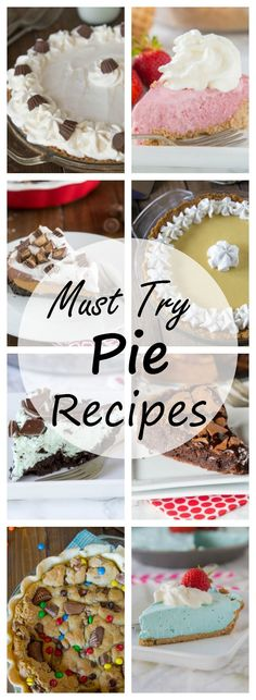 20 Must Try Pie Recipes - A round up of 20 great pie recipes you are going to want to try right away! No bake pies, cream pies, pies with candy and more! Tart Recipes, Best Dessert Recipes, Easy Desserts, Delicious Desserts, Sweet Pie, Sweet Tarts, Homemade Pie, Pie Dessert, Cupcake Cakes
