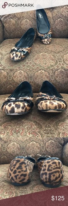 YSL Pony Hair Leopard Flats True to Size • Authentic • Great Used Condition • Pony Hair • Leopard • Patent Trim • No Box Yves Saint Laurent Shoes Flats & Loafers