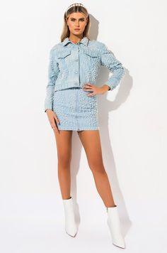 AZALEA WANG YEE HAW PEARL RHINESTONE SKIRT in color blue Denim Mini Skirt, Mini Skirts, Basic Tops, Snug Fit, Crop Tops, Long Sleeve, Model, How To Wear, Jackets