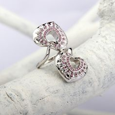 Pink Stone Silver Heart Ring - Double Hearts
