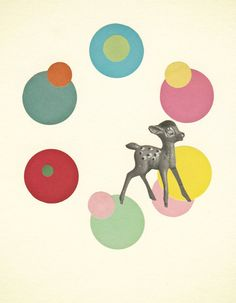 """Go Bambi. 7x9"""" Collage Paper Print. #ApartmentTherapy"""