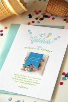 Ice Cream Letterpress Birthday Invitations by SweetlySaidPress