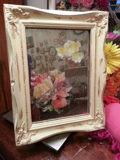 Shabby Chic repurposed frame and mirror. Follow me on Facebook : Sofi's Little Room