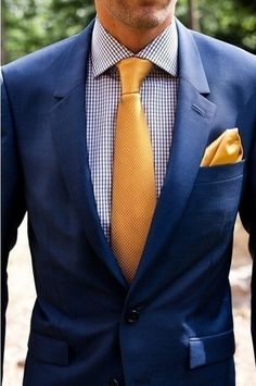 Men's Navy Blazer, Gold Silk Tie, White and Navy Gingham Dress Shirt, and Gold Silk Pocket Square