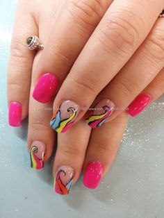 Gel 50 with neon freehand nail art