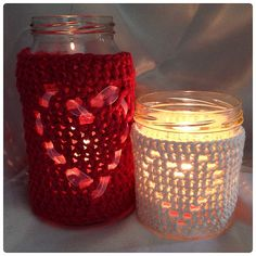 Heart Shape Jar Candle Cover Crochet PDF by HookedoPatterns