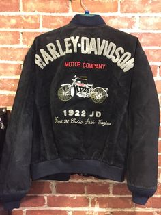 Vintage Harley-Davidson Black Suede Leather Jacket with 1922 JD Motorcycle Design Men's Size L by MissHavishamsShop on Etsy