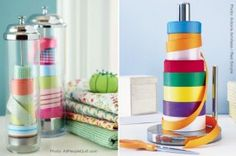 Ribbon storage.  Cute idea.  Add paperclip to end to keep together. Could also use old CD tower