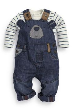 Buy Bear Denim Dungarees from the Next UK online shop - Baby boy clothes - Toddler Boy Fashion, Fashion Kids, Toddler Boys, Baby Kids, Carters Baby Boys, Teen Boys, 4 Kids, Style Fashion, Fashion Shoes