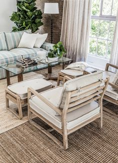 Striped couch paired with occassional chairs Outdoor Furniture, Occassional Chair, Living Room, Furniture Store, Furniture, New Homes, Stylish Furniture, Striped Couch, Outdoor Furniture Sets