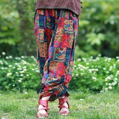 Ethnic Design Linen Cotton Patchwork Harem Pants