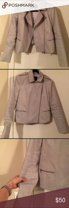 Banana Republic Light Gray Moto Jacket Love love love the light gray color the pictures do not do it justice. Fits great, size 10 and only worn a handful of times. Purchased last winter from Banana republic. Banana Republic Jackets & Coats Utility Jackets