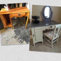 Refinished vanity Annie Sloan country gray.