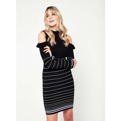 Miss Selfridge Cold Shoulder Frill Stripe Knitted Dress ($53) ❤ liked on Polyvore featuring dresses, black, flounce dress, cutout shoulder dresses, ruffle dress, striped knitwear and stripe dresses