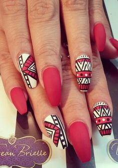 Red and white tribal matte nails