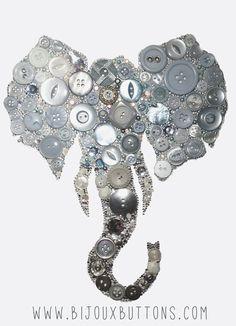 Bijoux Buttons Elephant, Button Art Swarovski Rhinestones, Unique Gifts