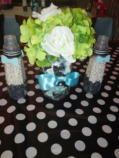 Bow ties and Bottles themed baby shower centerpieces mason jars filled with bow tie pasta  #tiffany blue #black #baby shower