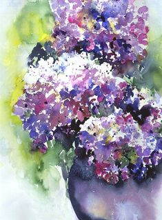 hydrangea watercolor paintings | Watercolor Paintings Prints Flowers Including Hydrangeas Pictures