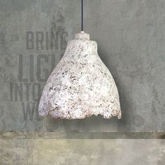 Eggshell Concrete Lamp is a design of The Paper Moon Factory. Handmade and shaped. The look of this lamp is somewhere between tough concrete and cracked egg shells. Concrete Light, Concrete Lamp, Paper Moon, Egg Shells, Decorative Bells, Ceiling Lights, Handmade, Design, Home Decor