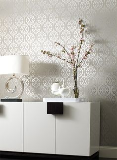 Harlequin Wallpaper in Stardust Silver with White Background from Candice Olson