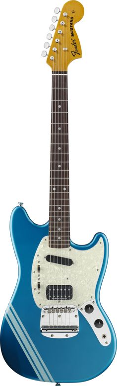My No 1 go to guitar, always playing this - Fender Kurt Cobain Mustang (Lake Placid Blue with Competition Stripe). This is the one I have. The stripe grew on me. Is as good a guitar as the videos make out. It can go from growling beast to tame jazz kitten with the flick of a switch. Can't put it down it's so nice to play.