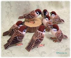 Needle felted sparrows