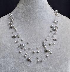 grey pearl necklace.wedding necklace Multistrand by weddingpearl