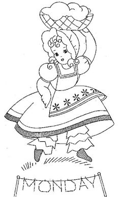 897 Sunbonnet Girls for Days of the Week Towels PDF Instant Downloads of Vintage Embroidery 60s