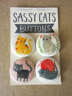 Sassy Cats botón o imanes Pack 1 por PetitReve en Etsy
