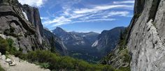 Upper Yosemite Falls Hike In Yosemite National Park CA. [OC] [5670x2464]